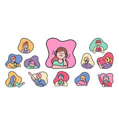 kids children boys and girls little characters set vector image