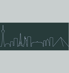 las vegas single line skyline vector image