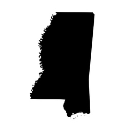 Map of the US state Mississippi vector image