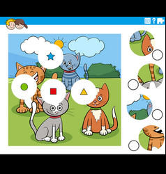 Match pieces puzzle with cartoon cats characters vector