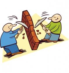Men breaking wall vector