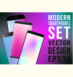 modern smartphones with colorful gradient vector image