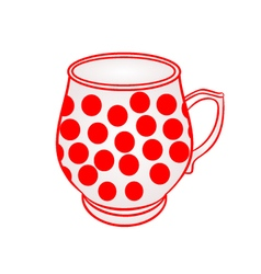 Mug of with red dots part of porcelain vector