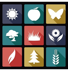 Nature flat icons vector