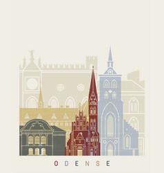 odense skyline poster vector image