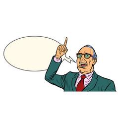 Old man emotional speaker isolate on white vector