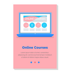 Online educational courses studying material vector