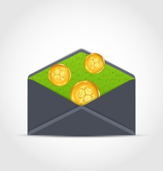 open envelope with golden coins for St Patricks vector image