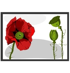 Painting with red flower and green bud vector
