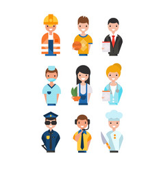 people of different professions set working vector image