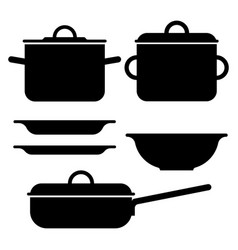 pot silhouettes vector image