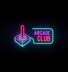 Retro joystick neon sign video game vector