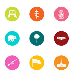 Russian stereotype icons set flat style vector
