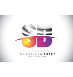 Sd s d letter logo design with creative lines and vector