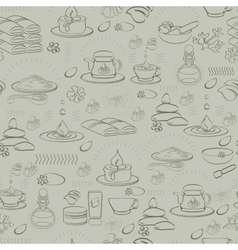 Seamless pattern with spa accessories vector