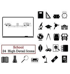 set of 24 education icons vector image