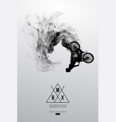 Silhouette of a bmx rider jumps performs the trick vector