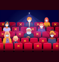 Social distancing in cinema hall vector