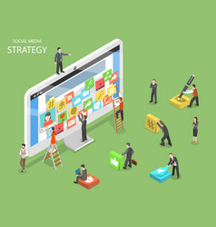 Social media strategy flat isometric vector