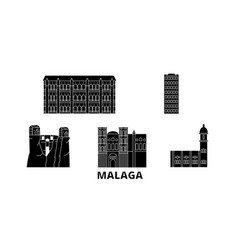 spain malaga flat travel skyline set spain vector image
