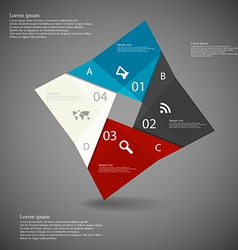 Square origami infographic dark vector