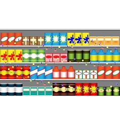Supermarket shelves with garlands vector