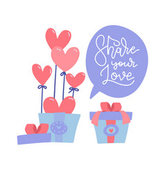 surprise gift box with red heart balloons open vector image