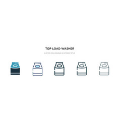 Top load washer icon in different style two vector