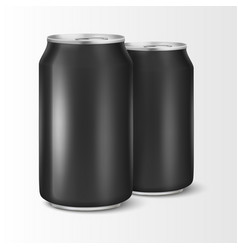 Two realistic 3d empty glossy metal black vector