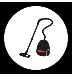 Vacuum cleaner simple isolated black and red icon vector