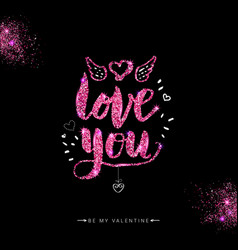Valentine card with shining letters vector