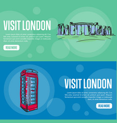Visit london touristic web banners vector