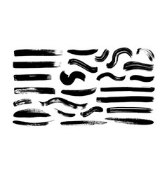 wavy and straight brush strokes collection vector image