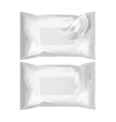 Wet wipes realistic pack on white vector