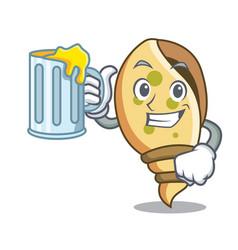 With juice sea shell mascot cartoon vector
