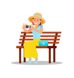 Woman sitting on wooden bench and making selfie vector
