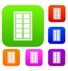 wooden latticed window set color collection vector image
