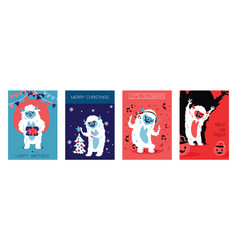 Yeti bigfoot characters cards for birthday vector