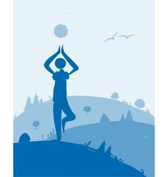 Yoga at dawn landscape for your design vector