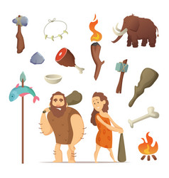 Different tools from prehistoric period primitive vector