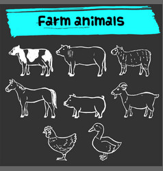 Farm animal doodle sketch icon set vector