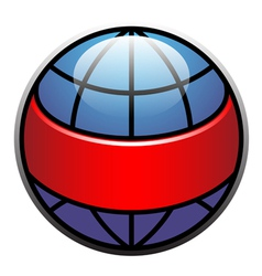 globe label with red ribbon vector image
