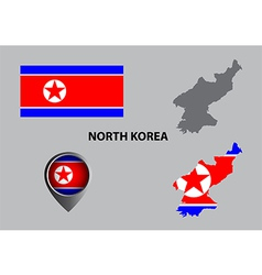 Map of North Korea and symbol vector image