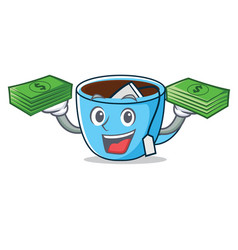 With money tea cup mascot cartoon vector