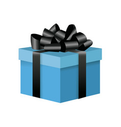 blue box gift decoration ornament with black bow vector image