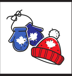 canadian knitted wool hat and mittens vector image