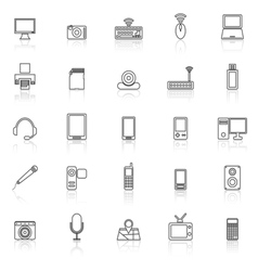 Gadget line icons with reflect on white vector image vector image