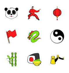 japanese cons set cartoon style vector image