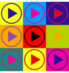 Play sign pop-art style icons set vector