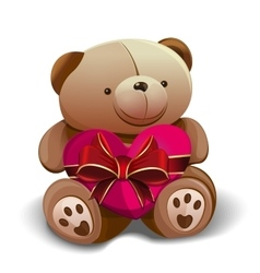 Teddy bear holding a pink heart tied with a red vector image vector image